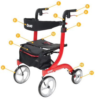 Drive Nitro Hemi Height Rollator