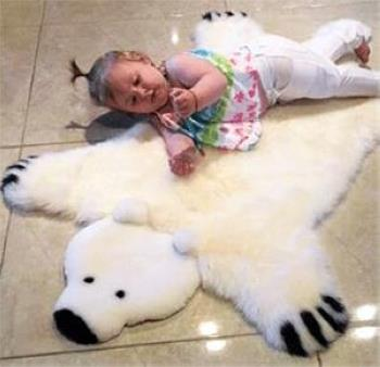 Baby Irish Sheepskin Polar Bear Rug