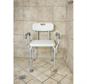 Essential Medical Deluxe Adjustable Molded Shower Bench With Arms