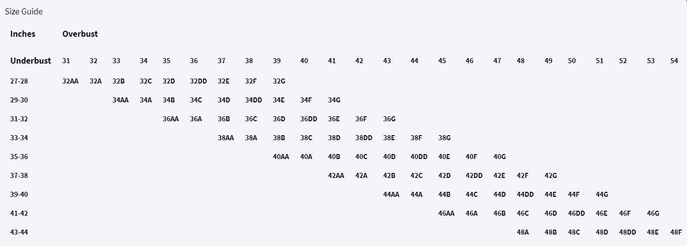 Patricia Light Compression Vest Size Chart