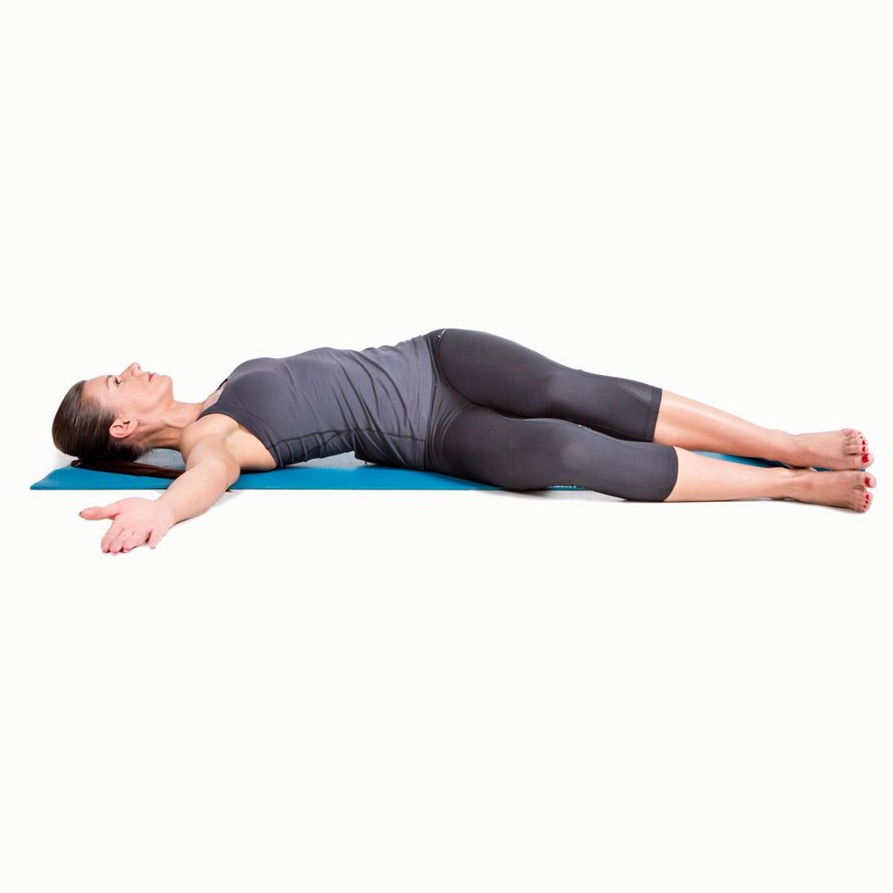 Reclining Twist with stacked knees