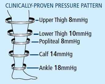 Clinically-Proven Pressure Pattern for TED Stockings