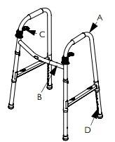 Invacare I-Class Dual Release Adult Paddle Walker