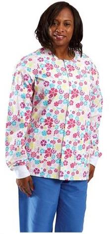 Medline ComfortEase Unisex Crew Neck Warm-Up Jacket - Flower Print