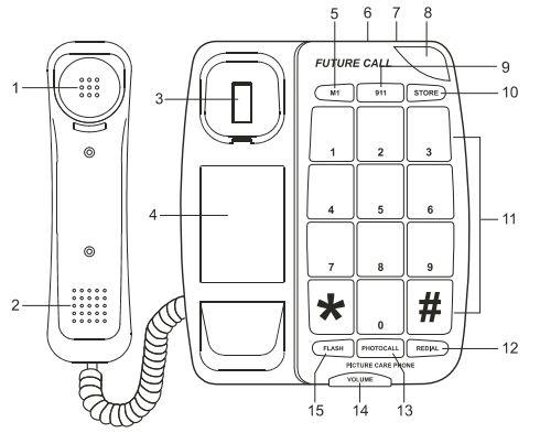 Future Call Picture Care Memory Corded Amplified Phone Parts